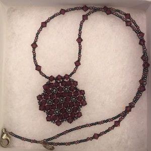 Purple handmade beaded necklace